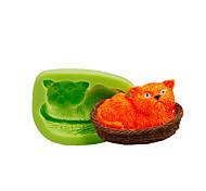 Недорогие -Кошка вздремнуть в корзине силиконовая форма помада торт украшения инструменты полимерная глина фимо сделать цвет случайный