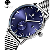 WWOOR Men's Stainless Steel Silver Band Japanese Quartz 30m Water Ressistant Party Wedding Dress Wacth Gift