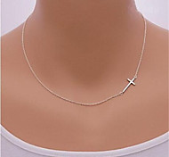 cheap -Women's Cross Sterling Silver Silver Pendant Necklace  -  Sideways Silver Golden Necklace For Party Daily Casual