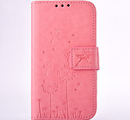 cheap -Case For Samsung Galaxy Samsung Galaxy Case Card Holder Wallet with Stand Embossed Full Body Cases Dandelion Hard PU Leather for Grand