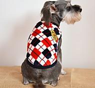Кошка Собака Футболка Одежда для собак На каждый день Мода В клетку Серый Желтый Красный Костюм Для домашних животных