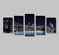 Недорогие -Пейзаж Архитектура Фото Modern, 5 панелей Горизонтальная С картинкой Декор стены Украшение дома