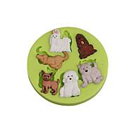 Недорогие -Прекрасный животных много собак силиконовый сахаристый пресс-форма для помады торты украшения для шоколада кекс цвет случайный