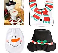 1 устанавливает рождественские украшения Рождество крышка унитаза и комплект ковер уборная снеговика декоративные крышки продвижение