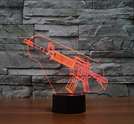 пистолет коснитесь затемнением 3D LED ночь свет 7colorful украшения атмосфера новизны светильника освещения свет рождества