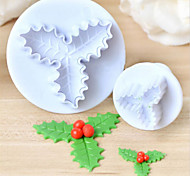 2pcs Holly Leaf Leaves Plastic Cake Cutter Plunger Fondant Sugarcraft Mold Mould Kitchen Baking Decorating Tools