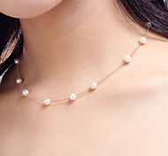 6mm White Pearl Strand Choker Necklace for Women Wedding Party Jewelry(Length45cm