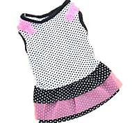 Недорогие -Кошка Собака Платья Одежда для собак Горошек Белый Черный Розовый Хлопок Костюм Для домашних животных Жен. На каждый день Мода
