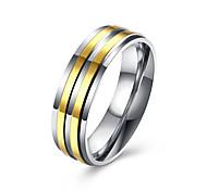 Недорогие -Муж. Нержавеющая сталь Позолота Кольцо - Мода Золотой Кольцо Назначение Свадьба Для вечеринок Повседневные