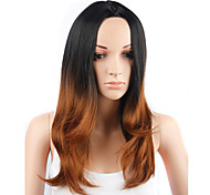 Fashion Style Long Straight Hair Black and Yellow Color Synthetic Wigs for Women