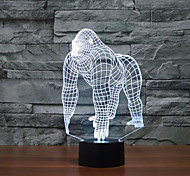 Шимпанзе касания затемнением 3D LED ночь свет 7colorful украшения атмосфера новизны светильника освещения свет рождества