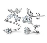 Недорогие -Жен. Серьги-гвоздики Клипсы Кристалл Синтетический алмаз На заказ Секси Гипоаллергенный Мода Регулируется Двойной слой Стерлинговое