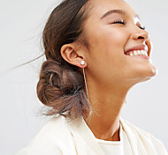 Women Korean Gold Plate Metal Bar Tassel Pearl Drop Earrings Alloy Earrings 1pair