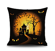 Halloween Night Cushion Cover Cabin Tree Square Linen  Decorative Throw Pillow Case