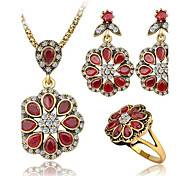 Women's Jewelry Set AAA Cubic Zirconia Synthetic Ruby Luxury Casual Synthetic Gemstones 1 Necklace 1 Pair of Earrings 1 Ring