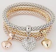 cheap -Women's Layered / Stack Charm Bracelet - Rhinestone, Imitation Diamond Heart, Love Luxury, European, Simple Style Bracelet Rainbow For Gift / Daily / Valentine