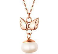 Sweet Pearl Inlay Angel Wing 316L Stainless Steel Pendant Necklace