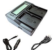 abordables -ismartdigi bpu90 LCD de doble cargador con el cable de carga del coche para Sony BATTERYS ex1r EX160 EX260 ex280 fs5 fs7 cámara