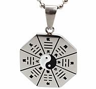 Недорогие -унисекса восемь диаграмм кулон ожерелье шарма нержавеющей стали 316l ретро черный посеребренные мужчины и женщины ювелирные изделия