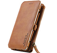 For Huawei P9 Card Holder Wallet with Stand Case Full Body Case Solid Color Hard Genuine Leather