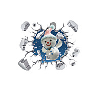 3D Smiling Face Snowman Hole PVC Material Decorative Skin Wall Stickers