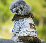 Dog Coat Denim Jacket/Jeans Jacket Dog Clothes Polar Fleece Denim Spring/Fall Winter Cowboy Keep Warm Fashion Jeans Black Blue For Pets