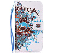 For Samsung Galaxy S7 Edge S6 S5 S4 S3 Skull Pattern PU Leather Full Body Case with Stand and Card Slot