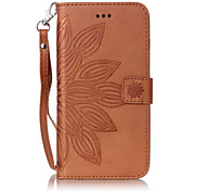 For iPhone 7Plus 7 6Plus 6S 6 SE 5s 5 PU Leather Material Half Flower Pattern Embossing Solid Color Phone Case