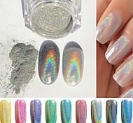 2g коробка ногтей зеркало серебряный порошок красочные аксессуары для ногтей взять мазок