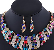 Women's Jewelry Set Earrings Statement Necklaces Luxury Synthetic Gemstones Rhinestone Rose Gold Plated Imitation Diamond Alloy Jewelry 1