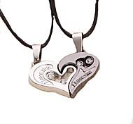 Недорогие -Муж. Ожерелья с подвесками Кожа Титановая сталь Любовь Сердце бижутерия Бижутерия Назначение Для вечеринок Повседневные Новогодние подарки