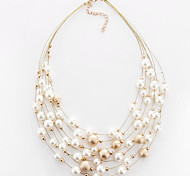 cheap -Women's Imitation Pearl Pearl Imitation Pearl Choker Necklace  -  Circular Multi Layer Fashion Round White Golden Necklace For Party