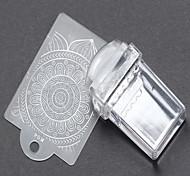 1 шт прямоугольник прозрачный печать искусства ногтя печатью шаблон скребковые 2 раза