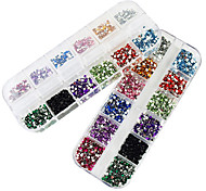 2x3000PCS 2MM Round 12-in-1 Acrylic Rhinestone Nail Art Decoration
