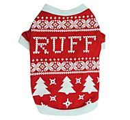 Собаки Футболка Одежда для собак Зима Лето В снежинку Милые Мода Рождество Черный Красный