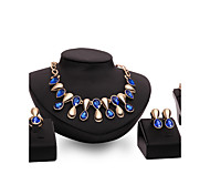 Jewelry Set Alloy Punk Drop Purple Blue Wedding Party Daily 1set 1 Necklace 1 Pair of Earrings 1 Bracelet Rings Wedding Gifts