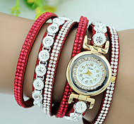 cheap -Women's Bracelet Watch Imitation Diamond Rhinestone Quartz Leather Band Charm Black White Blue Red Pink Purple Beige Rose Strap Watch