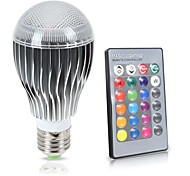 8W E26/E27 LED Globe Bulbs A70 1 COB 850 lm RGB K Sensor Infrared Sensor Waterproof Dimmable Remote-Controlled Decorative AC85-265 V
