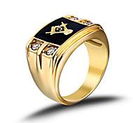Недорогие -Муж. Классические кольца Для вечеринки Для офиса На каждый день Мода Камни по месяцу рождения Нержавеющая сталь Стразы Искусственный