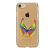 For Transparent Pattern Case Back Cover Case Cartoon Yellow Butterfly Soft TPU for IPhone 7 7Plus iPhone 6s 6 Plus iPhone 6s 6 iPhone 5s 5 5E 5C