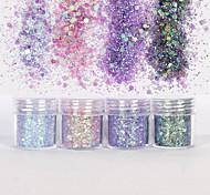 Nail Art 10ml Pink Purple Mixed Nail Glitter Powder Hexagon Shape Glitter Nail Powder Sheets Tips Nail Art Set