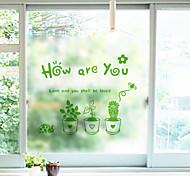 Недорогие -Цветочный принт Классика Стикер на окна, ПВХ/винил материал окно Украшение Столовая Спальня Для гостиной