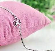 Недорогие -Браслеты-цепочки и звенья Мода бижутерия Серебрянное покрытие В форме цветка Четырехлистный клевер Бижутерия Назначение