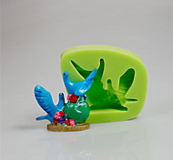 Cake Decorating Tool Lovely 3D Couple Birds Art And Craft Silicone Molds Ramdon Color
