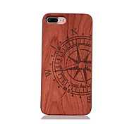 For Shockproof Embossed Pattern Case Back Cover Case Half Compass Hard Rosewood and PC Combination for Apple iPhone 7 7 Plus 6s 6 Plus SE 5s 5