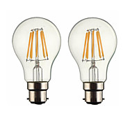 cheap -ONDENN 2pcs 5W 500-600 lm B22 LED Filament Bulbs G60 6 leds COB Dimmable Warm White AC 220-240 AC 110-130 V