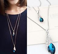 Недорогие -Женский В форме свечи Мода Двойной слой Ожерелья с подвесками Синтетические драгоценные камни Стразы Сплав Ожерелья с подвесками ,