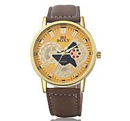 Masculino Relógio de Moda Quartzo Couro Banda Preta Marrom Branco Loira luz
