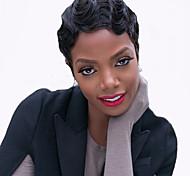 Недорогие -жен. Парики из искусственных волос Без шапочки-основы Короткий Волнистые Черный как смоль Для темнокожих женщин Парик в афро-американском