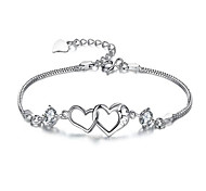 Women's Chain Bracelet Crystal Zircon Alloy Fashion Heart White Purple Jewelry 1pc